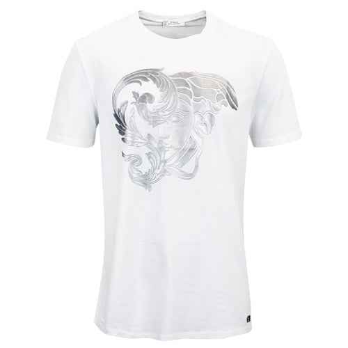 Versace Collection - Silver Medusa Head Print T-Shirt in White - Nigel Clare