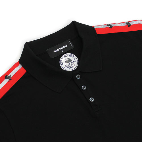 DSQUARED2 - Leaf Tape Polo Shirt in Black - Nigel Clare