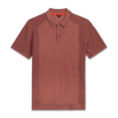 Ted Baker - BUMP Knitted Polo Shirt in Pink - Nigel Clare
