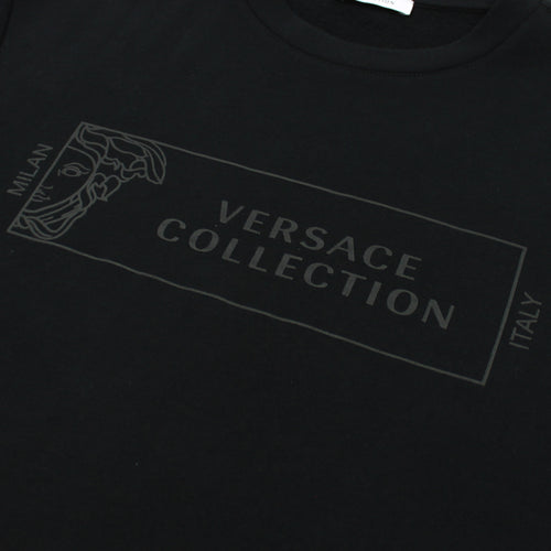 Versace Collection - Logo Print Crew Neck Sweatshirt in Black - Nigel Clare