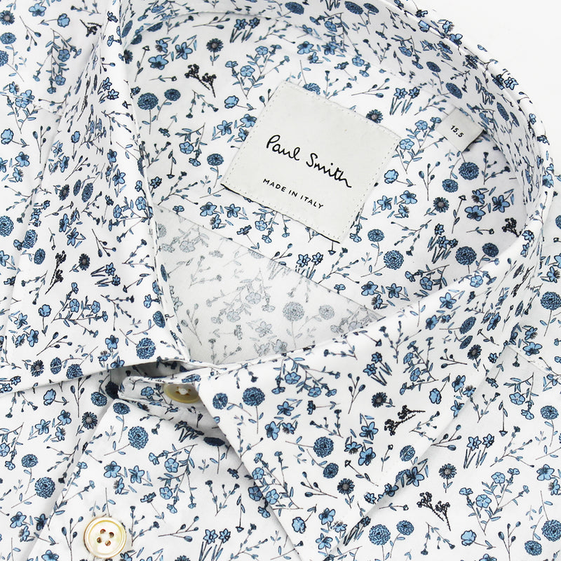 Paul Smith - Tailored 'Artist Stripe' Cuff Floral Shirt in White - Nigel Clare