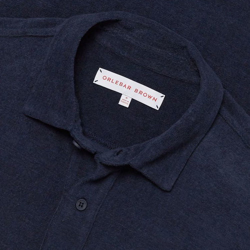 Orlebar Brown - Sebastian Towelling Polo Shirt in Navy - Nigel Clare