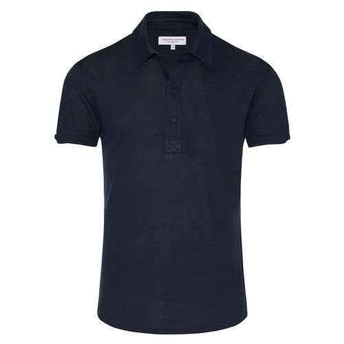 Orlebar Brown - Sebastian Linen Tailored Fit Polo Shirt in Navy - Nigel Clare