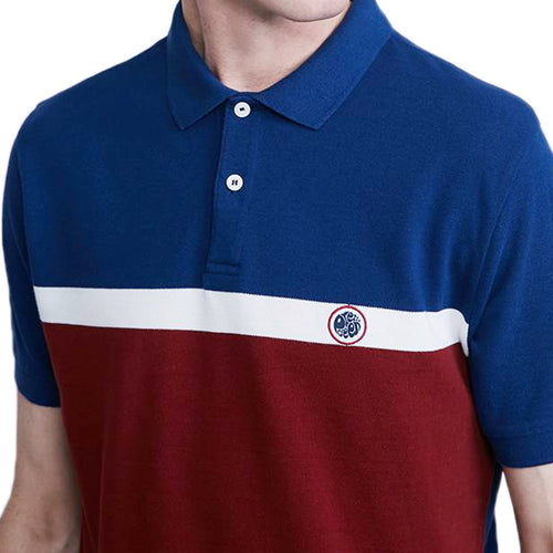 Pretty Green - Front Colour Block Polo Shirt in Burgundy - Nigel Clare