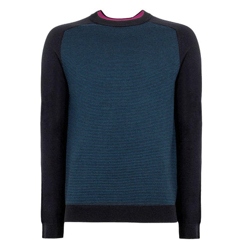 Ted Baker - TOPUP Striped Crew Neck Jumper in Teal - Nigel Clare