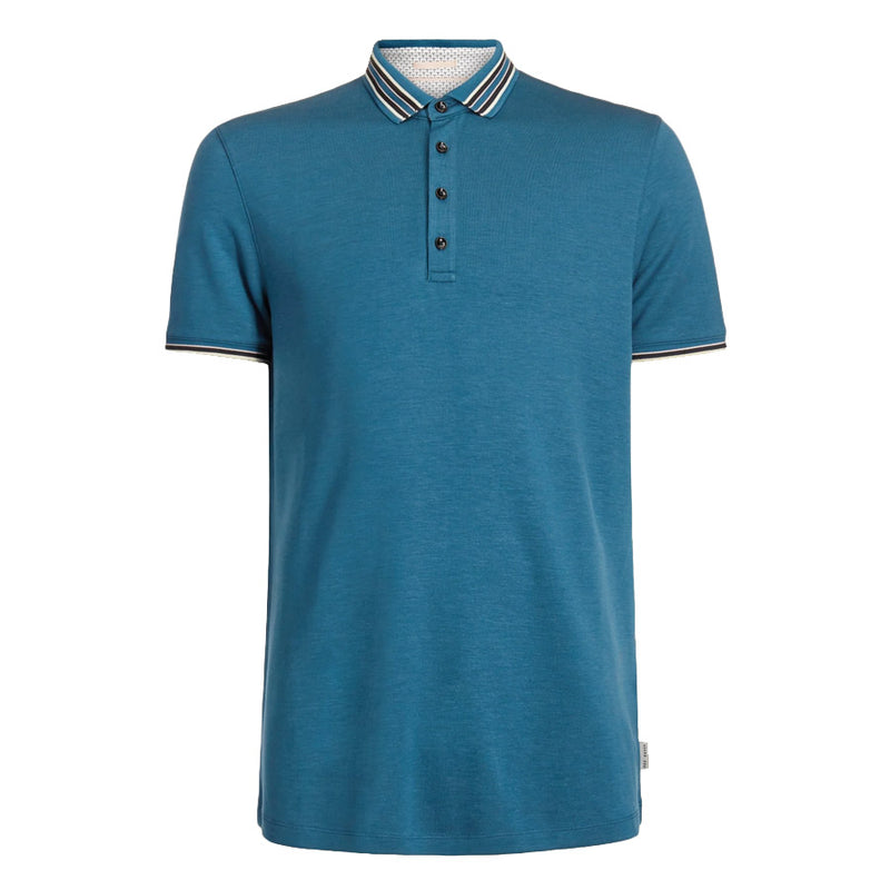 Ted Baker - TEACUPS Striped Collar Polo Shirt in Teal - Nigel Clare