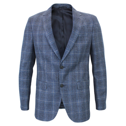 Hugo Boss - Nasley3 Slim Fit Check Blazer in Blue Mix - Nigel Clare