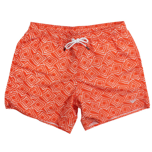 Emporio Armani - Patterned Swim Shorts in Orange / White - Nigel Clare