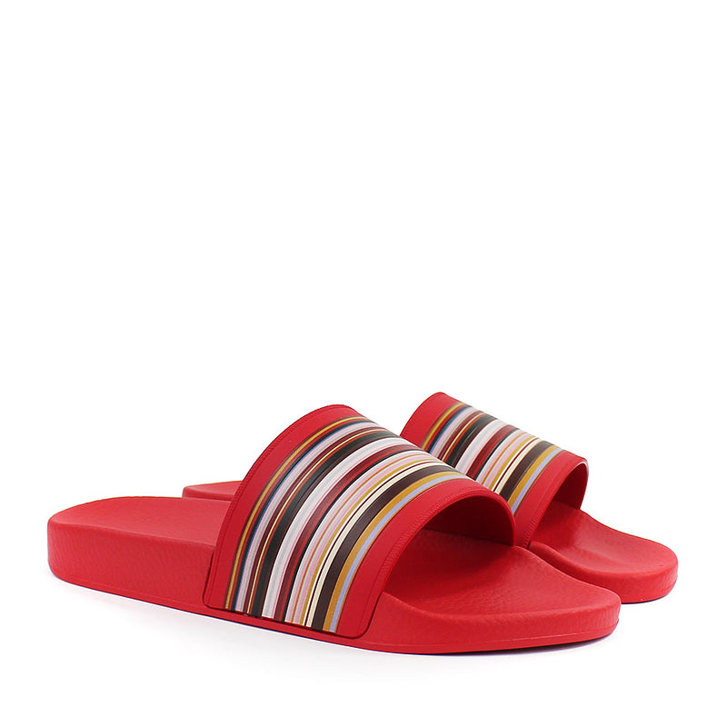 Paul Smith - Ruben Signature Stripe Sliders in Red - Nigel Clare