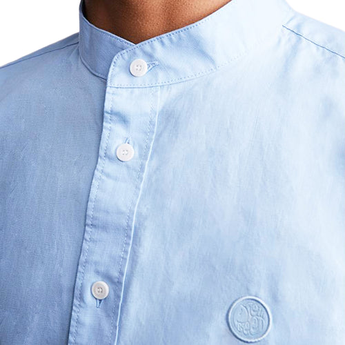Pretty Green - Slim Fit Collarless Shirt in Blue - Nigel Clare