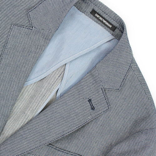 Emporio Armani - Navy Herringbone Cotton/Linen Mix Blazer - Nigel Clare