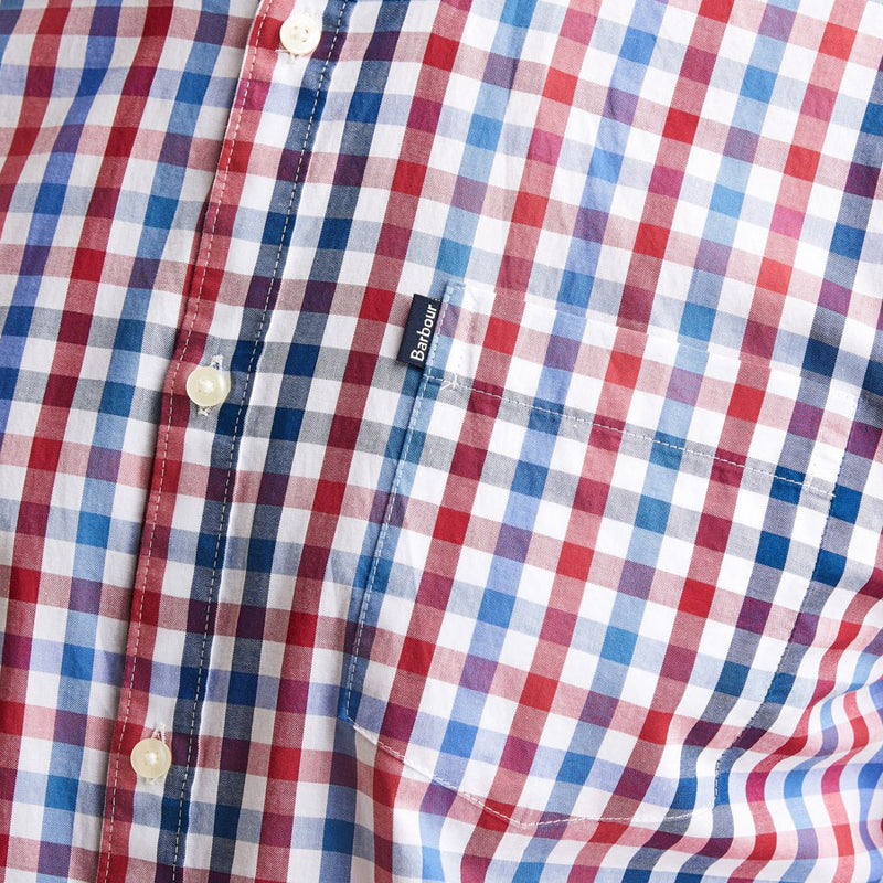Barbour - Tattersall 6 S/S Tailored Shirt in Red - Nigel Clare