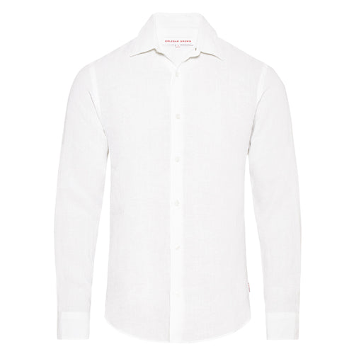Orlebar Brown - Giles Linen Shirt in White - Nigel Clare