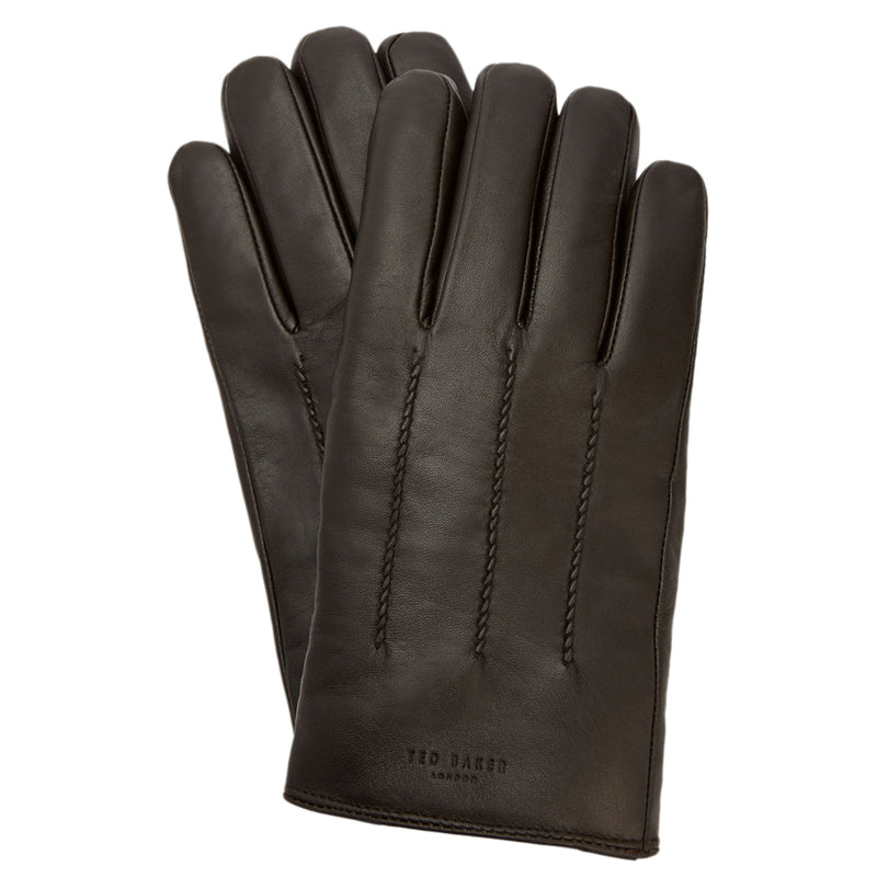 Ted Baker - Leather Wool Lined Gloves in Chocolate - Nigel Clare