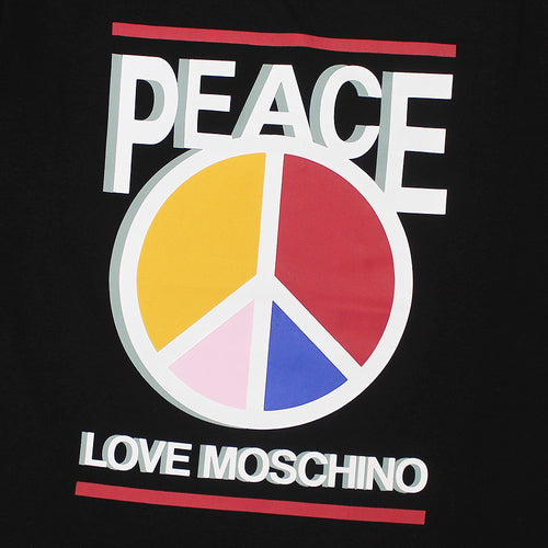 Love Moschino - Peace Print T-Shirt In Black - Nigel Clare
