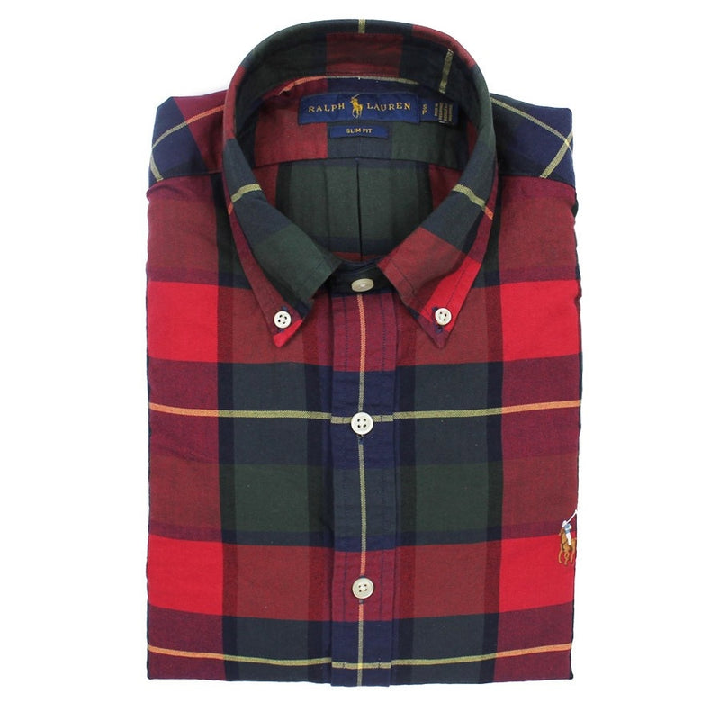 Polo Ralph Lauren - Slim Fit Multi Check Oxford Shirt in Red - Nigel Clare