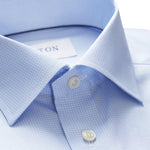 Eton - Contemporary Fit Micro Tennis Print Shirt in Blue - Nigel Clare