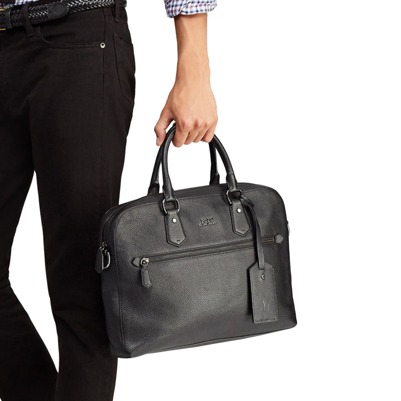 Polo Ralph Lauren - Pebbled Leather Briefcase in Black - Nigel Clare