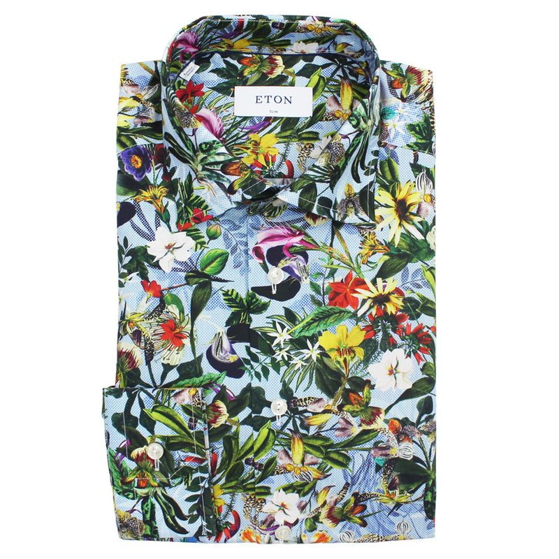 Eton - Slim Fit Floral Design Print Shirt in Blue - Nigel Clare