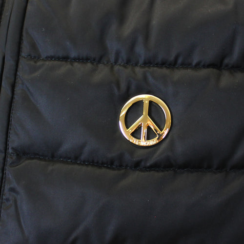 Love Moschino - Peace Logo Padded Gilet in Black - Nigel Clare