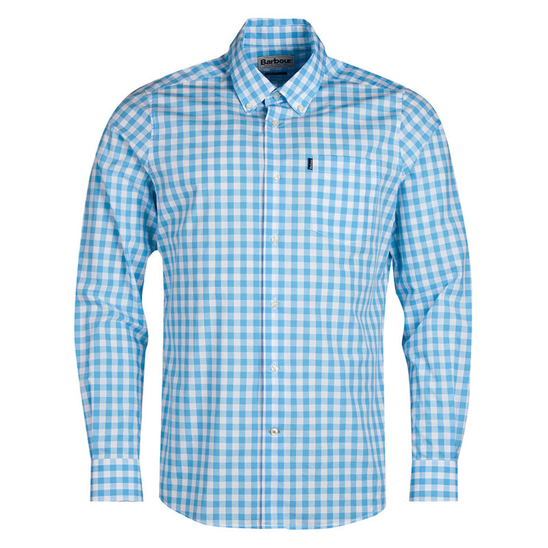 Barbour - Tailored Fit Gingham Shirt in Pale Blue - Nigel Clare