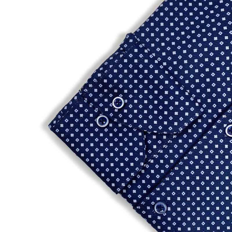 Stenstroms - Slimline Patterned Shirt in Navy - Nigel Clare