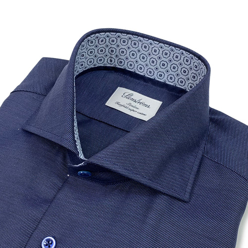 Stenstroms - Slimline Patterned Trim Shirt in Navy - Nigel Clare