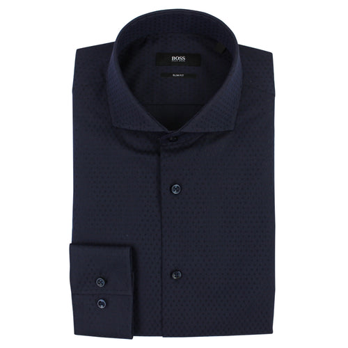 Hugo Boss - Jason Slim Fit Micro Pattern Shirt in Navy - Nigel Clare