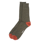 Barbour - Houghton Socks in Olive & Rust - Nigel Clare