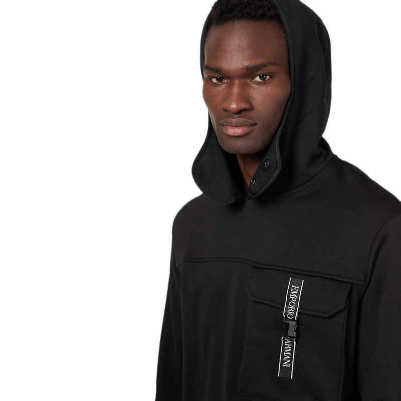 Emporio Armani - Technical Fabric Hoodie in Black - Nigel Clare