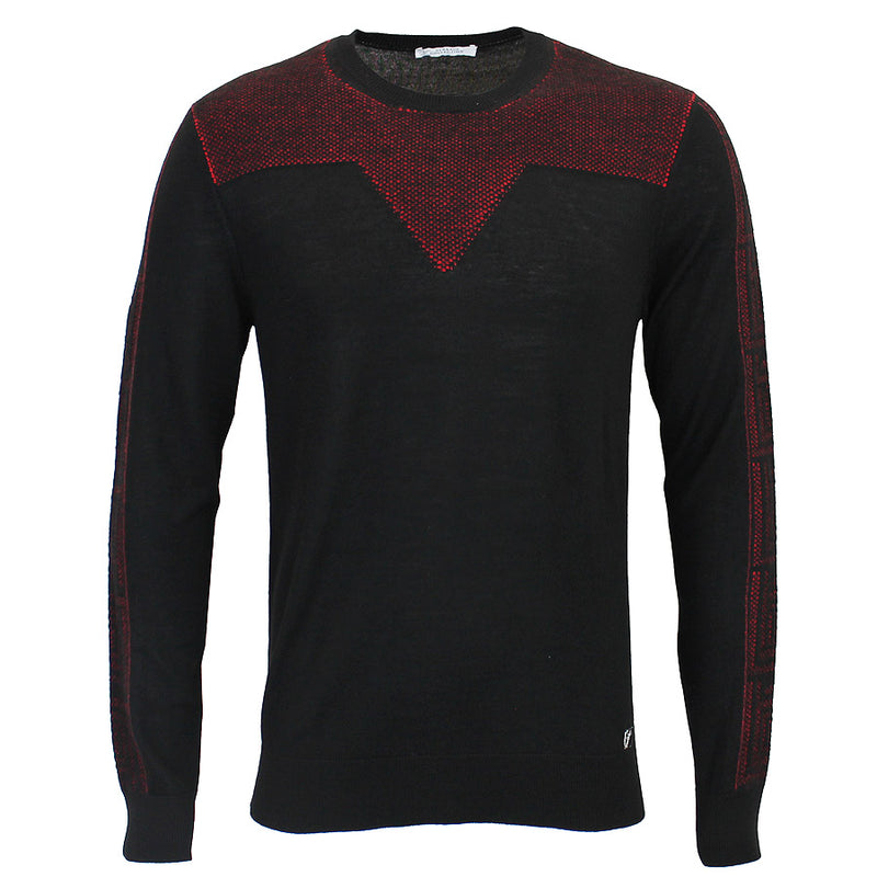 Versace Collection - Patterned Crew Neck Jumper in Black/Red - Nigel Clare
