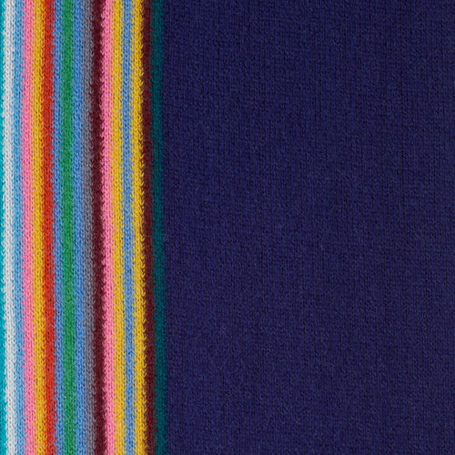 Paul Smith - Multi Colour Stripe Wool Scarf in Navy - Nigel Clare
