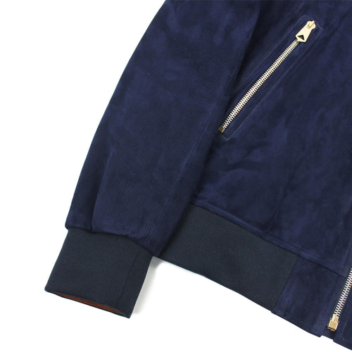 Paul Smith - Suede Lamb Leather Jacket in Navy - Nigel Clare