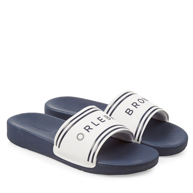 Orlebar Brown - Haddon Logo Sliders in Navy & White - Nigel Clare
