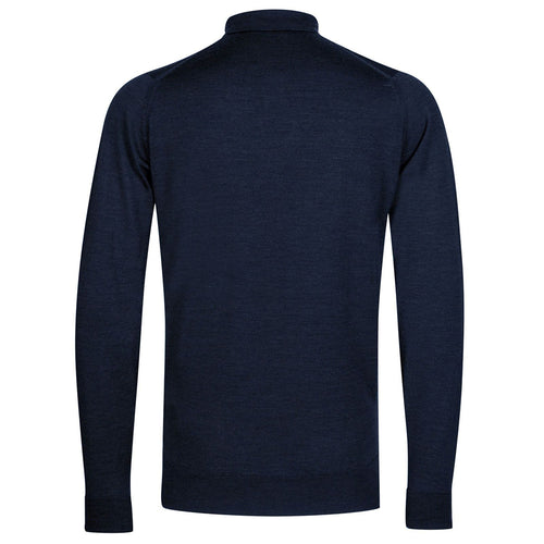 John Smedley - Cotswold LS Knitted Polo Shirt in Indigo