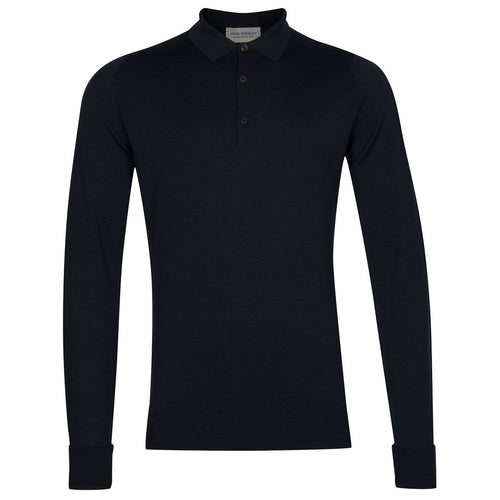 John Smedley - Cotswold LS Knitted Polo Shirt in Midnight - Nigel Clare
