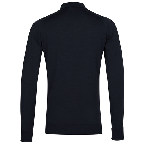 John Smedley - Cotswold LS Knitted Polo Shirt in Midnight