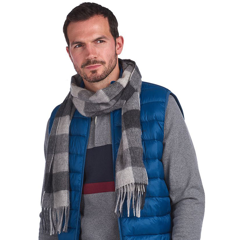 Barbour - Large Tattersall Scarf in Charcoal Grey - Nigel Clare