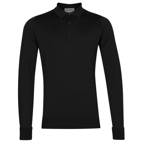 John Smedley - Cotswold LS Knitted Polo Shirt in Black - Nigel Clare
