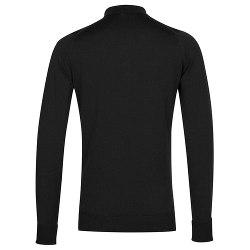 John Smedley - Cotswold LS Knitted Polo Shirt in Black