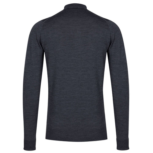 John Smedley - Cotswold LS Knitted Polo Shirt in Charcoal - Nigel Clare