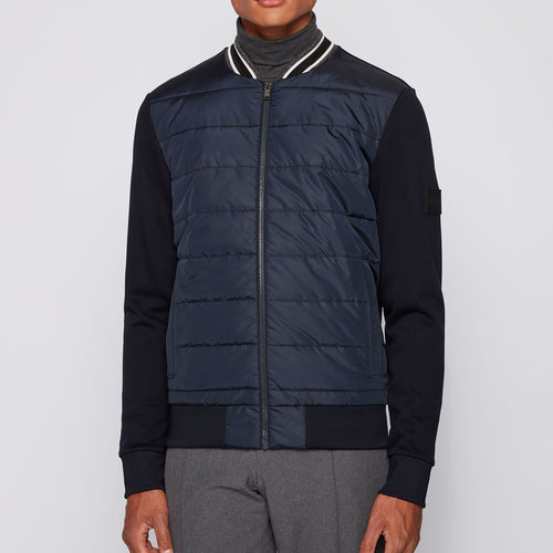 Hugo Boss - Skiles 29 Bomber Zip Sweatshirt in Navy