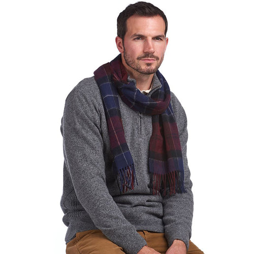 Barbour - Holden Scarf in Port & Navy Tartan