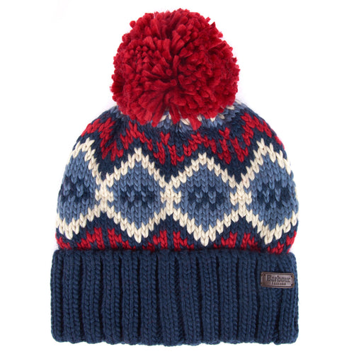 Barbour - Malton Beanie in Navy & Red - Nigel Clare