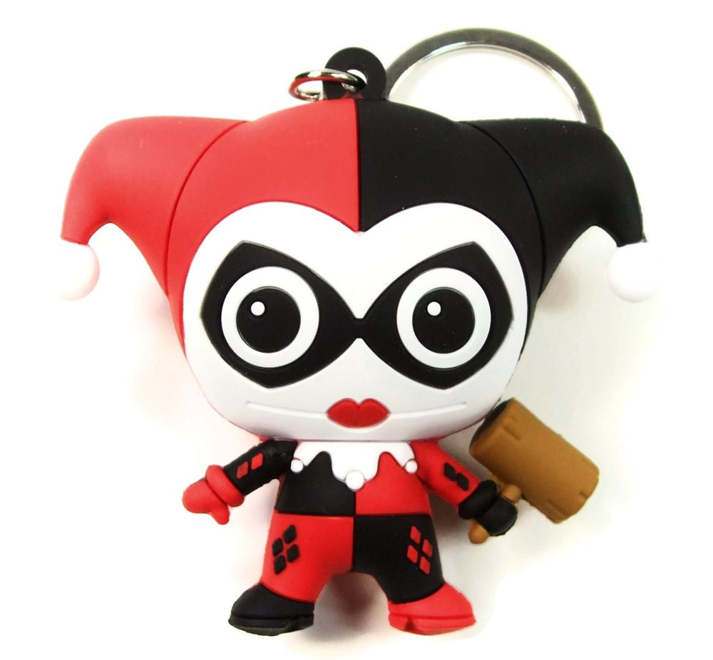 Harley Quinn 3D Figural Keychain - Red/Black
