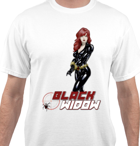Black Widow White T-Shirt
