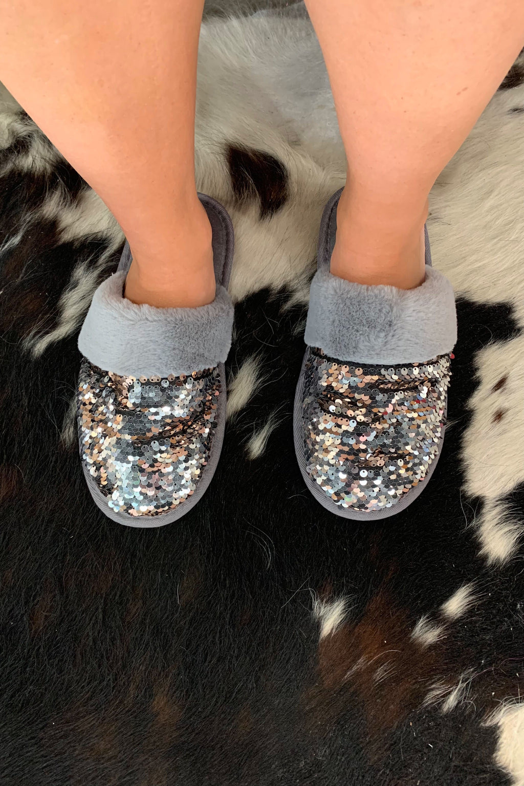 Sequin Faux Fur Slippers