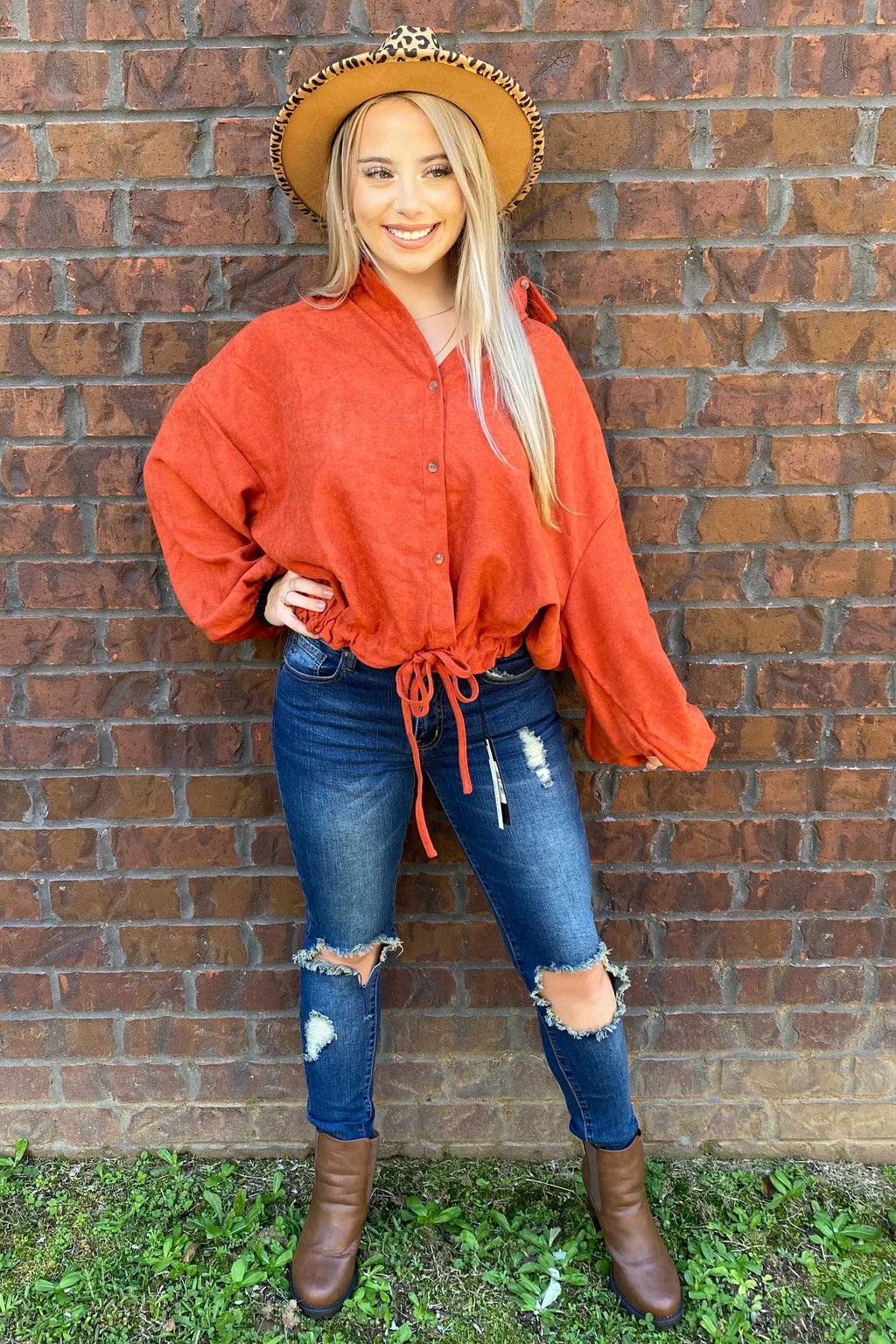 Rust Velveteen Button Down