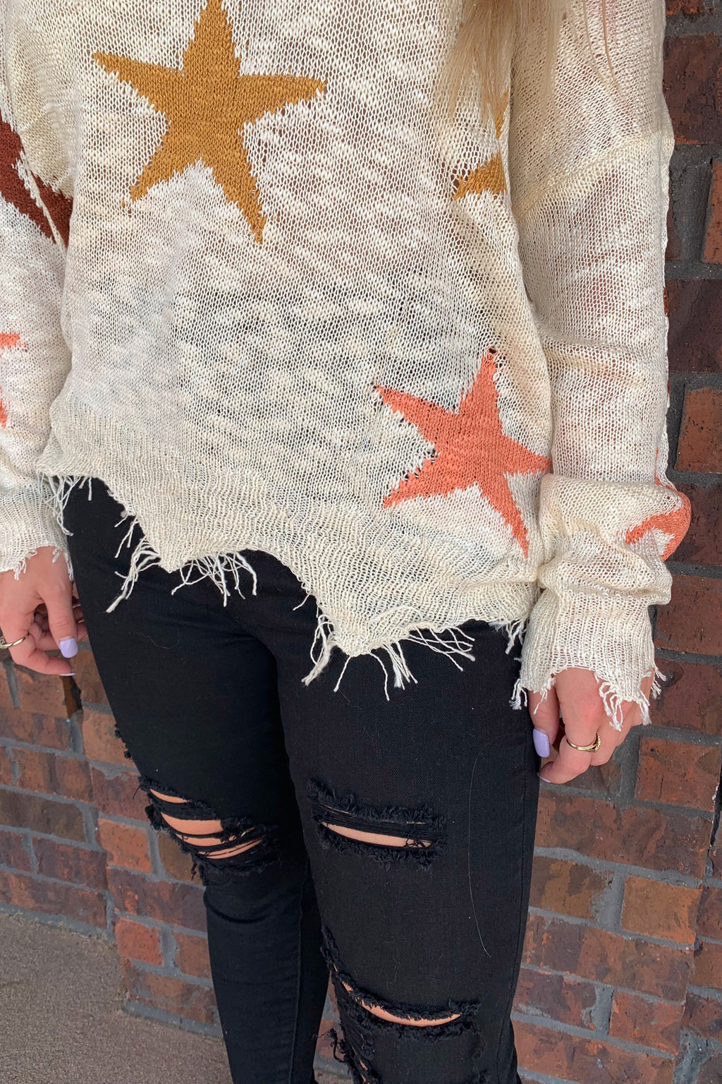 Frayed Star Lightweight Sweater