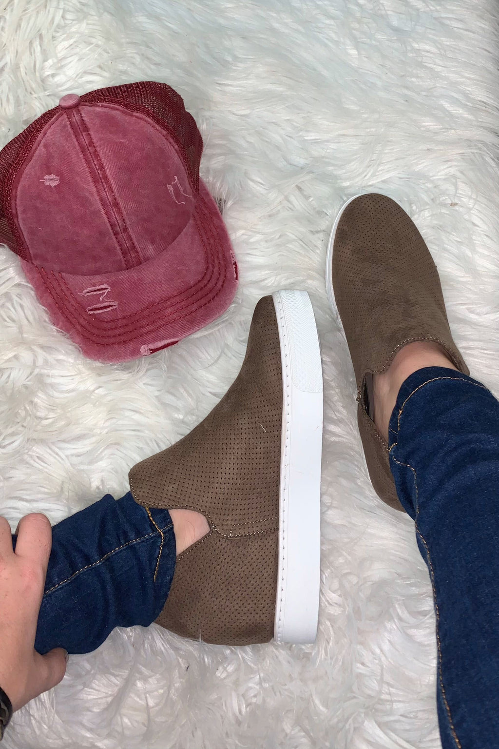 Cognac Wedge Sneakers